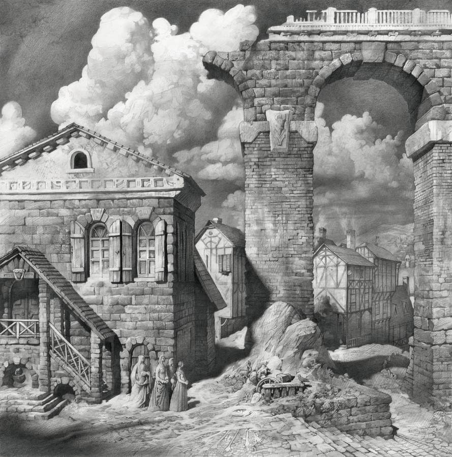 09-The-Ghosts-of-the-Dark-Ages-Denis-Chernov-Urban-Architecture-Pencil-Drawings-www-designstack-co