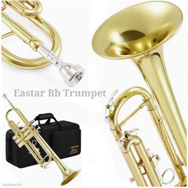 Eastar Gold-Brass Trumpet - Brass Bb ETR-380 Musical Instrument