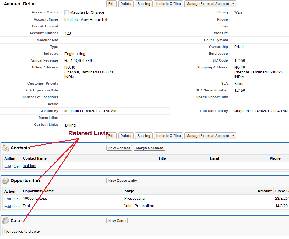 Infallible Techie: What is a related list in Salesforce?