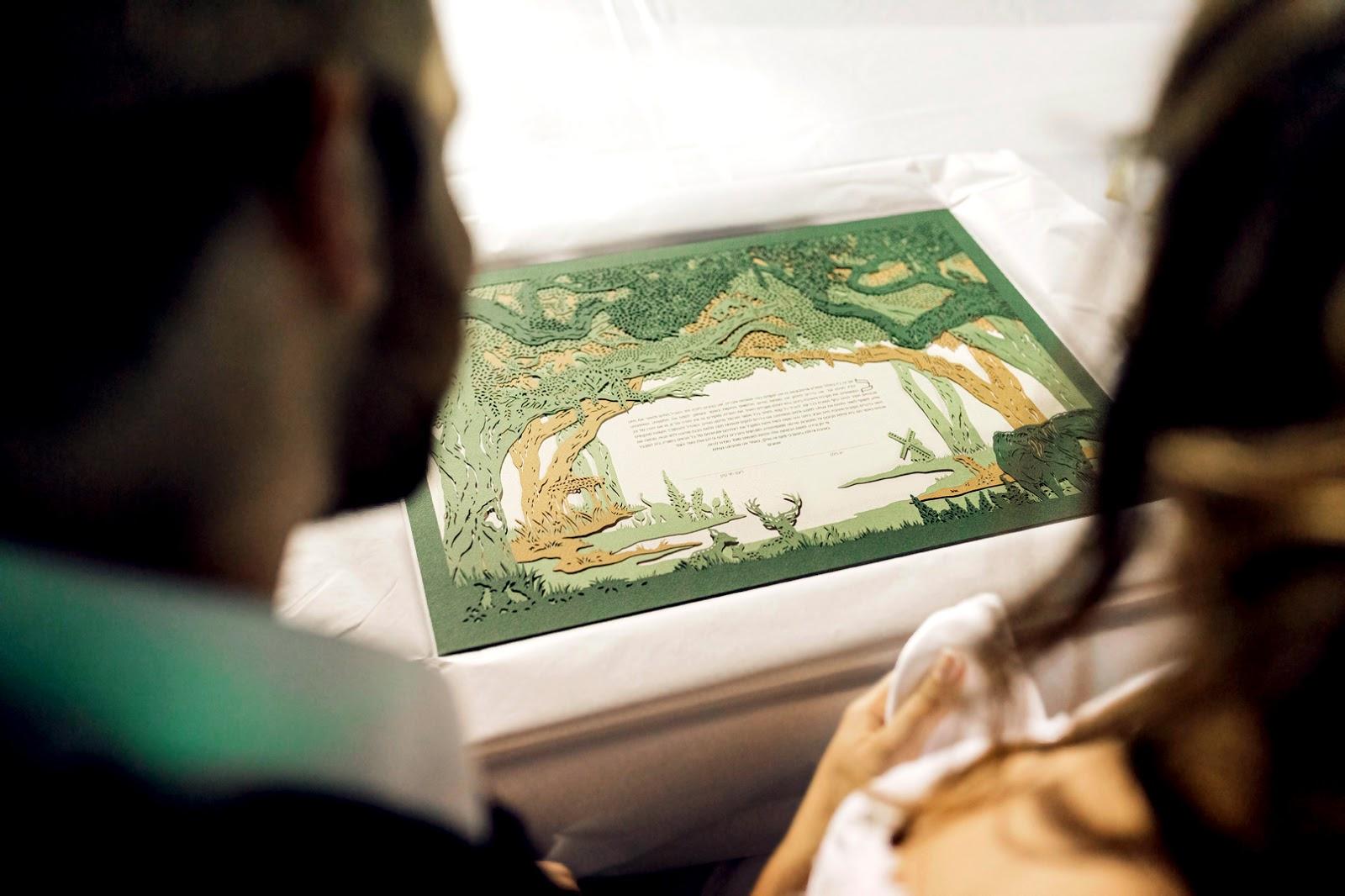 You & Me Always papercut ketubah by Woodland Papercuts, photo by Adrian Sebal