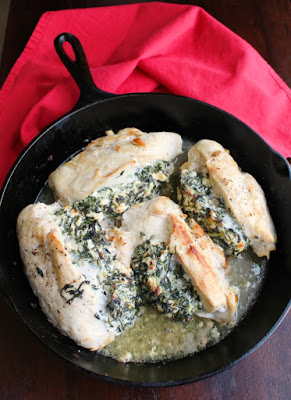 4 large feta and spinach stuffed chicken breasts in a 12 inch cast iron skillet