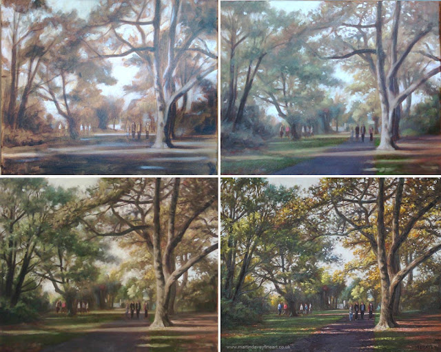 oil painting stages of Southampton park artwork Davey