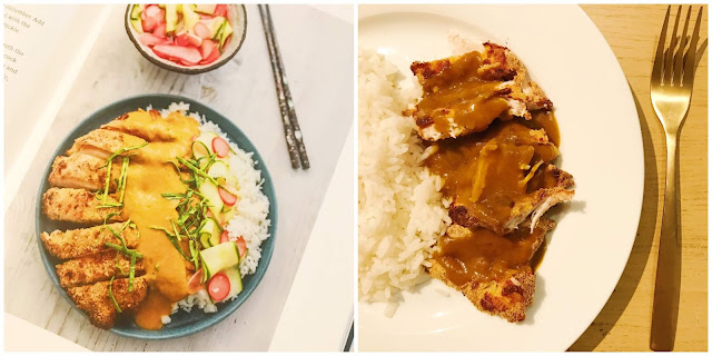 collage - left side has photo of curry from recipe book, right is ours