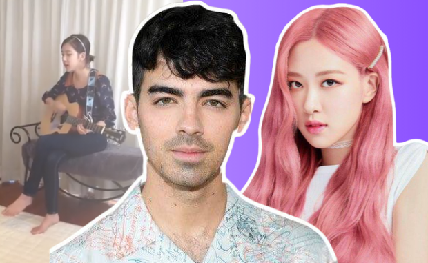 joe jonas of jonas brothers and Rosé of blackpink