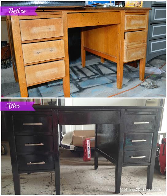 Black desk, desk makeover, refinished desk, painted desk