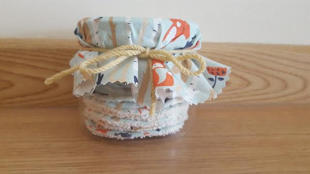 DIY reusable face scrubbies in a jar gift set