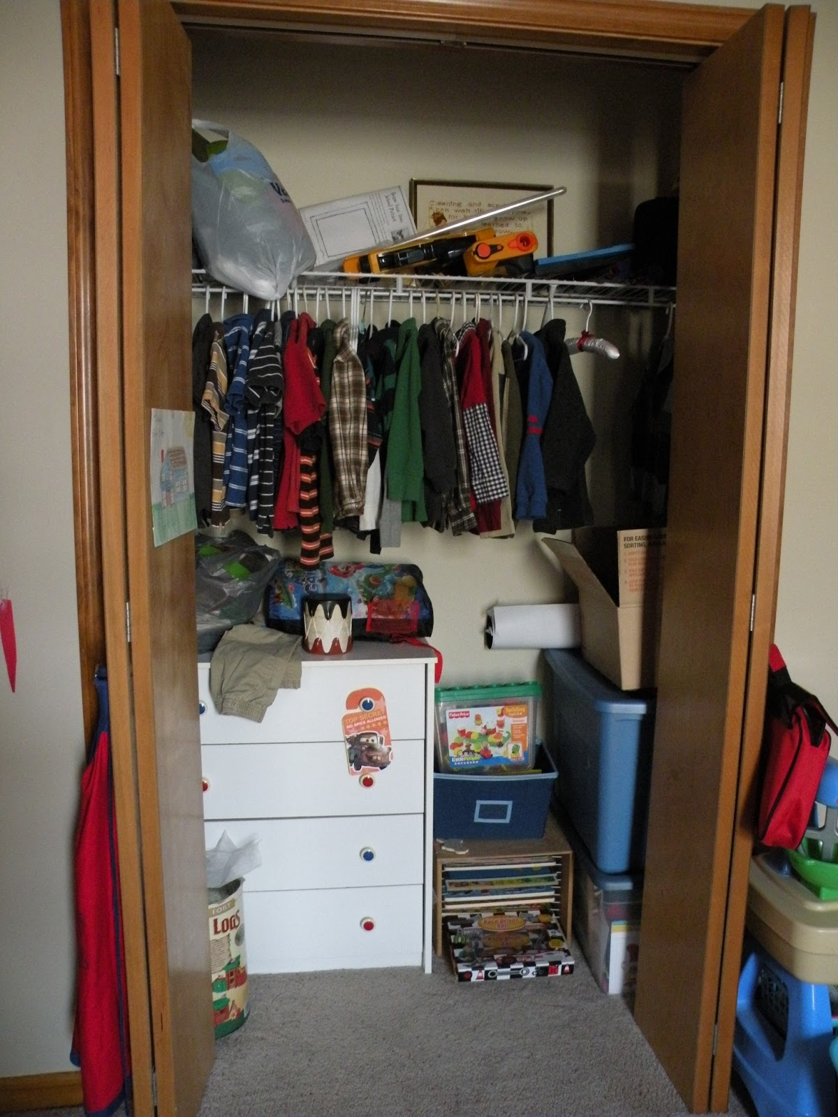 Starting In Closet #1, I Removed The Dresser That Was Holding Out Of Season  Clothes For Both Boys And Found A New Home For It In The Basement.
