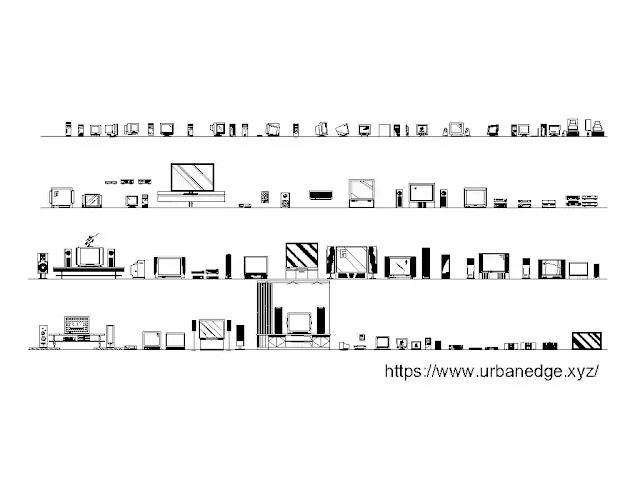 TV cad blocks download, 70+ TV autocad drawing, TV dwg models