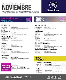 Programacion noviembre Conversaciones ROCK bibliotecas de Bogotá