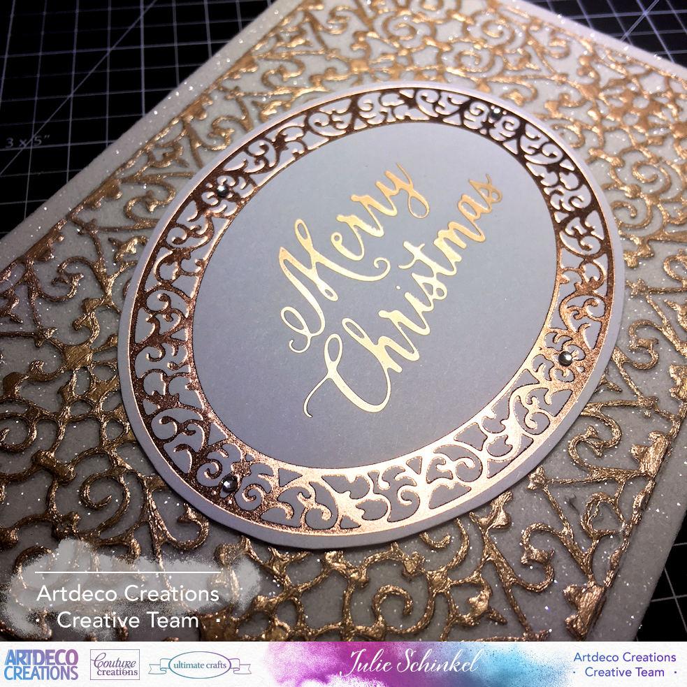 Rose Gold Foil Christmas Card By JULIE SCHINKEL