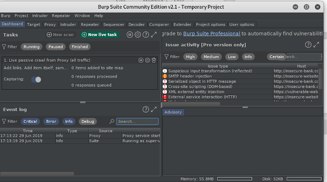 Burp Suite Community Edition v2.1