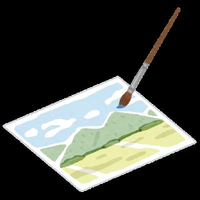 水彩画のイラスト(筆)