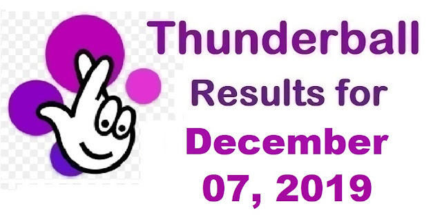 Thunderball Results for Saturday, December 07, 2019