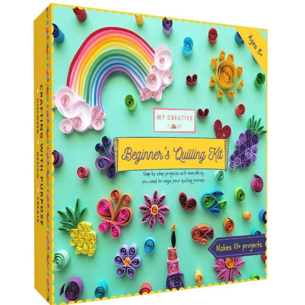 colorful cover of beginner's quilling kit showing cute, small projects like rainbow, hearts, and flowers