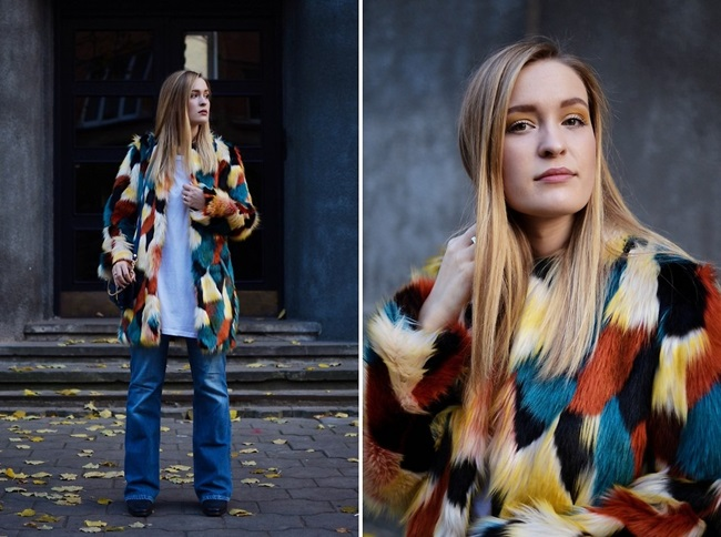 H&M 2015 Winter Colorful Faux Fur Coat Street Snap