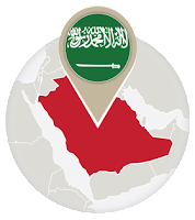 Saudi flag and map