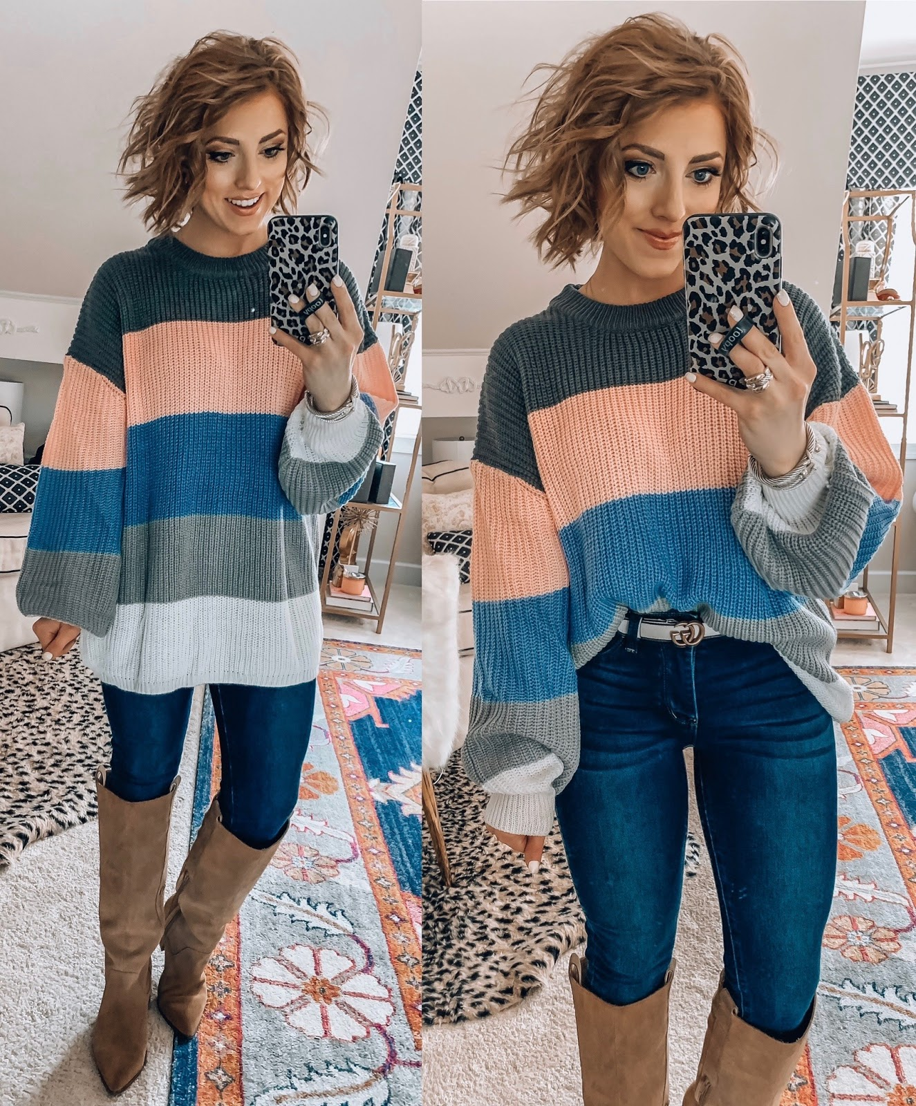 Recent Amazon Finds - Under $30 Pink and Grey Color block Sweater - Something Delightful Blog #AmazonFashion #RecentFinds #Hearts #ValentinesDay #AffordableFashion