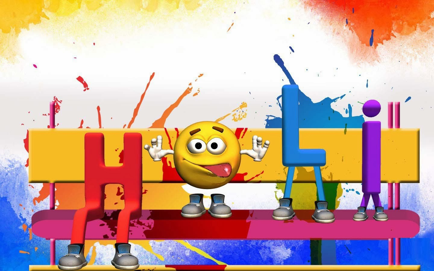 Cute Holi Desktop Wallpaper