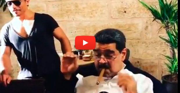 Nicolás Maduro comiendo de lujo y fumando tabaco en Dubai como todo un rey