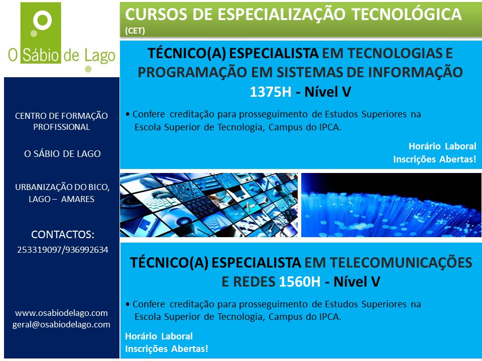 Curso CET de Tecnologias e Programação em Sistemas de Informação – Amares (Braga)