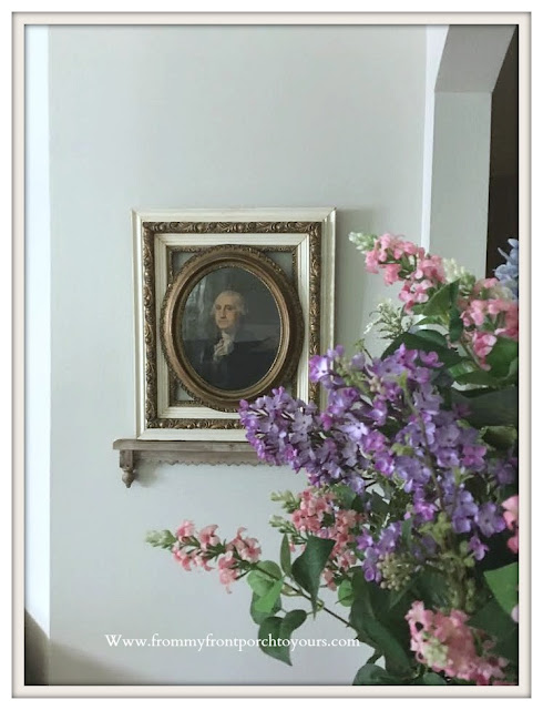 Living- room -Furniture & Decor- French Country Farmhouse-Antique-Lithograph-George Washington-Vintage-From My Front Porch To Yours