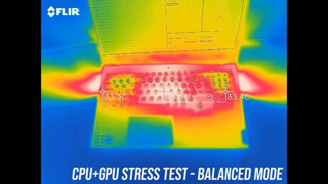 Keyboard and palm rest are getting hotter during the balanced mode CPU+GPU stress test in Legion 7i.