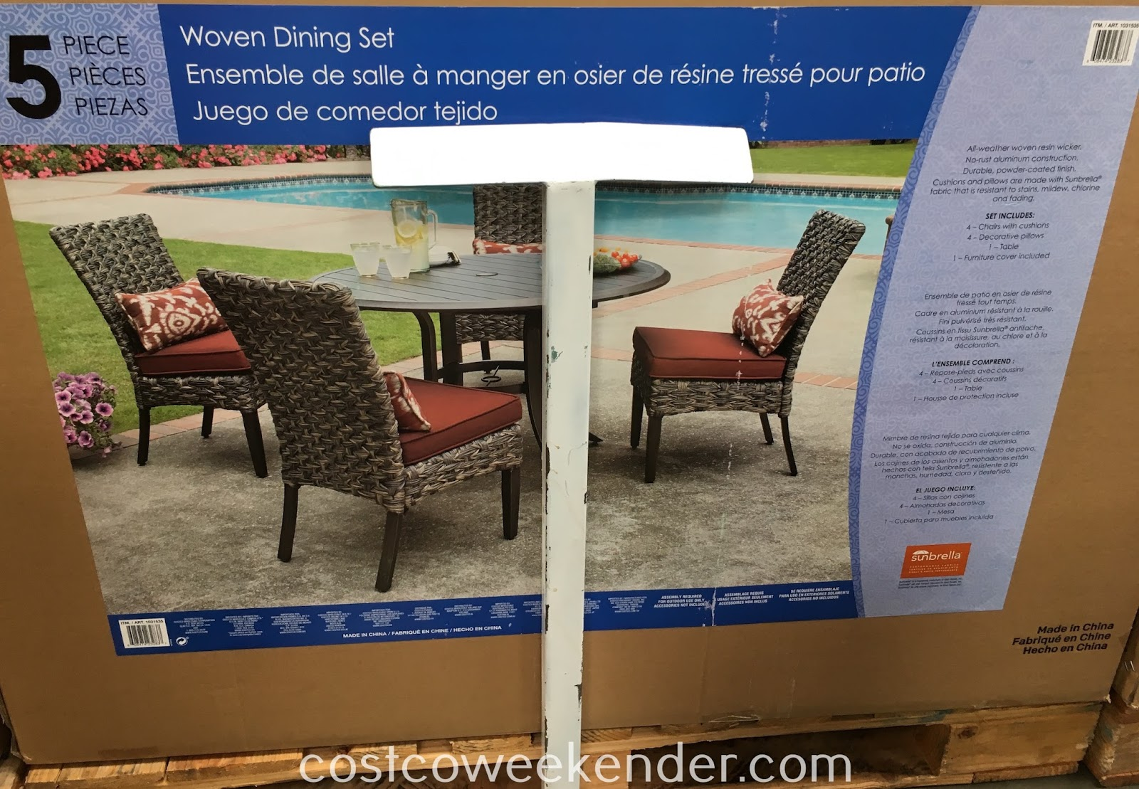 Costco 1031535 - Woodard 5-piece Woven Dining Set: great for any backyard or patio