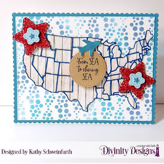 Divinity Designs Stamp Set: America The Beautiful, Custom Dies: USA Map, Double Stitched Stars, Rectangles, Scalloped Rectangles, Mixed Media Stencil: Bubbles, Paper Collections:  Weathered Wood, Old Glory, Patriotic