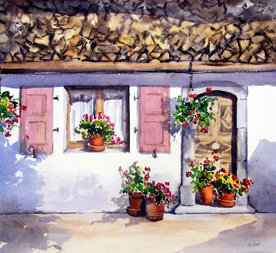 French Doorway Watercolour tutorial.