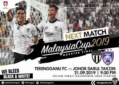 Live Streaming Terengganu vs JDT (Piala Malaysia) 21.9.2019