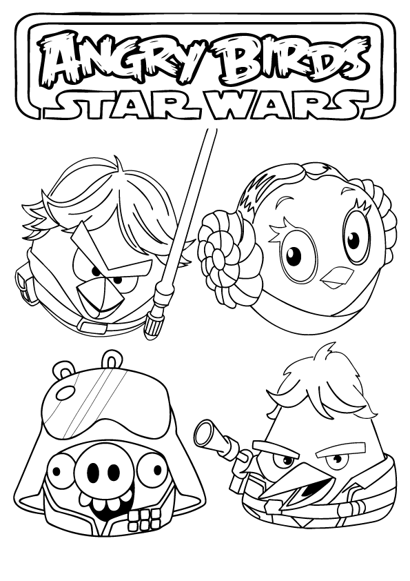 angry bird star wars coloring pages to print | Angry Birds Star Wars Coloring Pages - Free Printable ...
