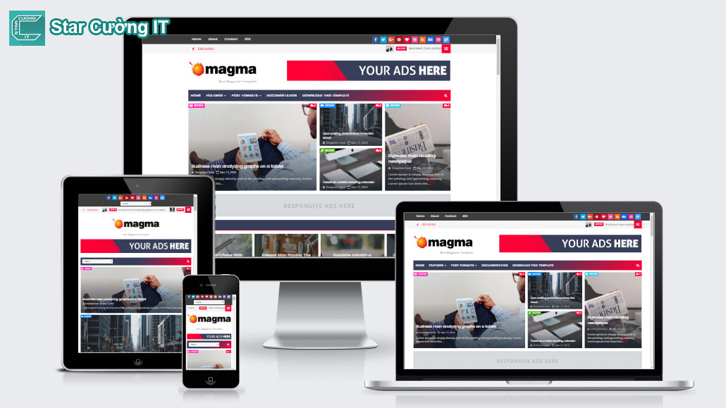 Share Template Magma Responsive Magazine Blogger