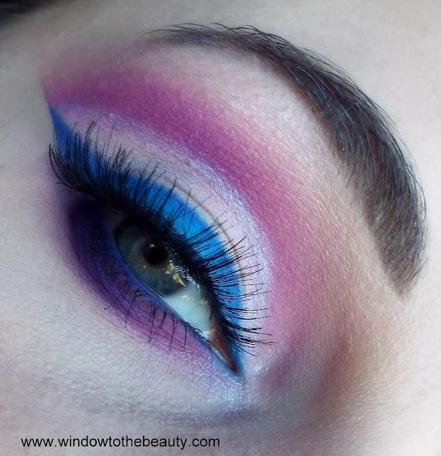 fioletowo niebieski imprezowy szalony makijaż