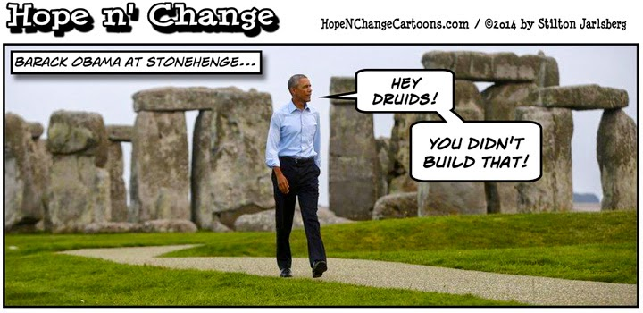 obama, obama jokes, cartoon, political, stonehenge, hope n' change, hope and change, stilton jarlsberg, druids