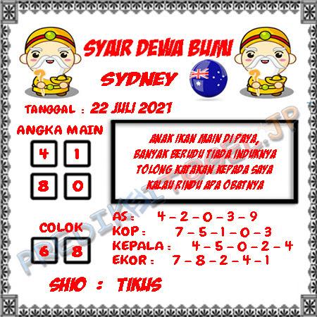 Prediksi Dewa Bumi Sydney Kamis 22 Juli 2021
