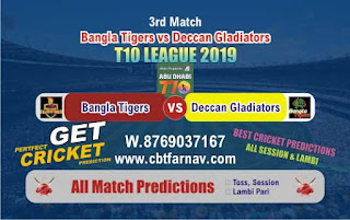T10 League 2019 Gladiators vs Tigers 4th T10 2019 Match Prediction Today Reports