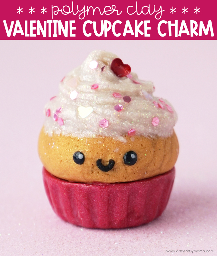 Polymer Clay Valentine Cupcake Charm