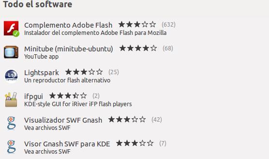 Instalar Flash Player desde el Centro de Software de Ubuntu