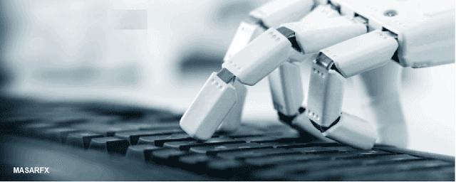 صورة بها يد روبوت تكتب على لوحة مفاتيح