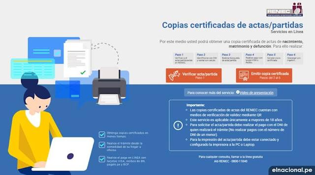 Solicitar por internet Copia Certificadas y Partidas en la Reniec