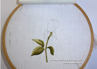 Thread painted stem and leaves for Trish Burr's Iceberg Rosebud.