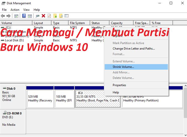 Cara Tips Mudah Membagi / Membuat Partisi Baru di Windows 10