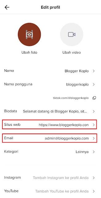 Cara Menambahkan Link, Tautan, atau URL dan Alamat Email di Bio Tiktok Anda