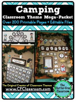 Are you planning a camping themed classroom or thematic unit? This blog post provides great decoration tips and ideas for the best camping theme yet! It has photos, ideas, supplies & printable classroom decor to will make set up easy and affordable. You can create a camping theme on a budget!