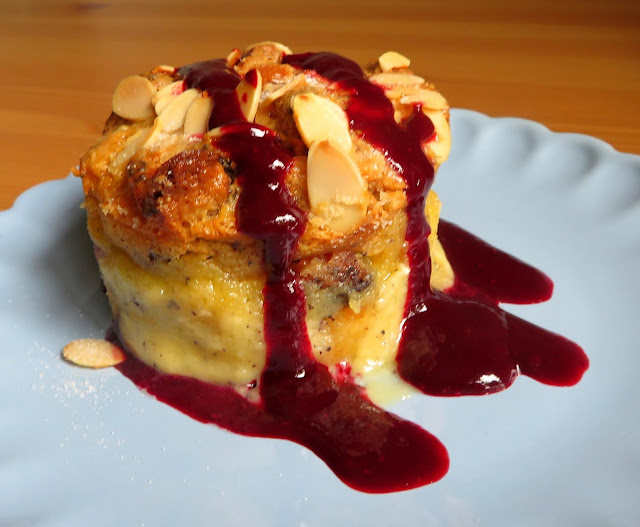 Sweet Almond Bread Pudding with Blackberry Sauce