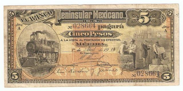 Mexico banknotes 5 Pesos banknote bill Banco Peninsular Mexicano