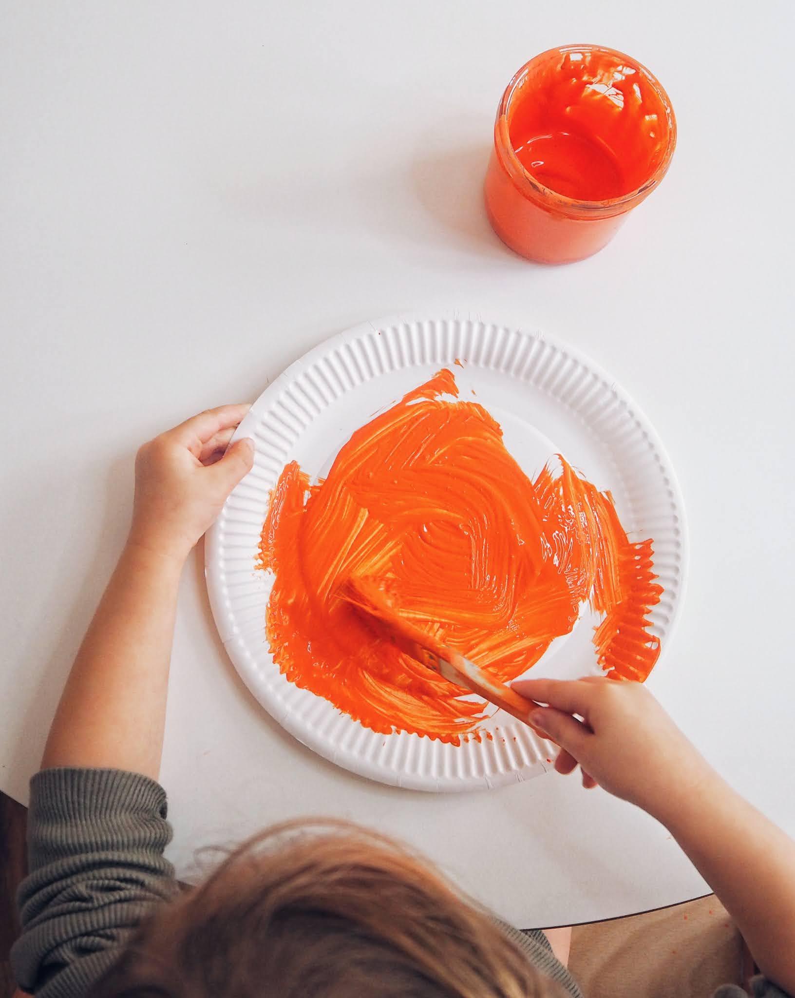 pumpkin paper plate painting