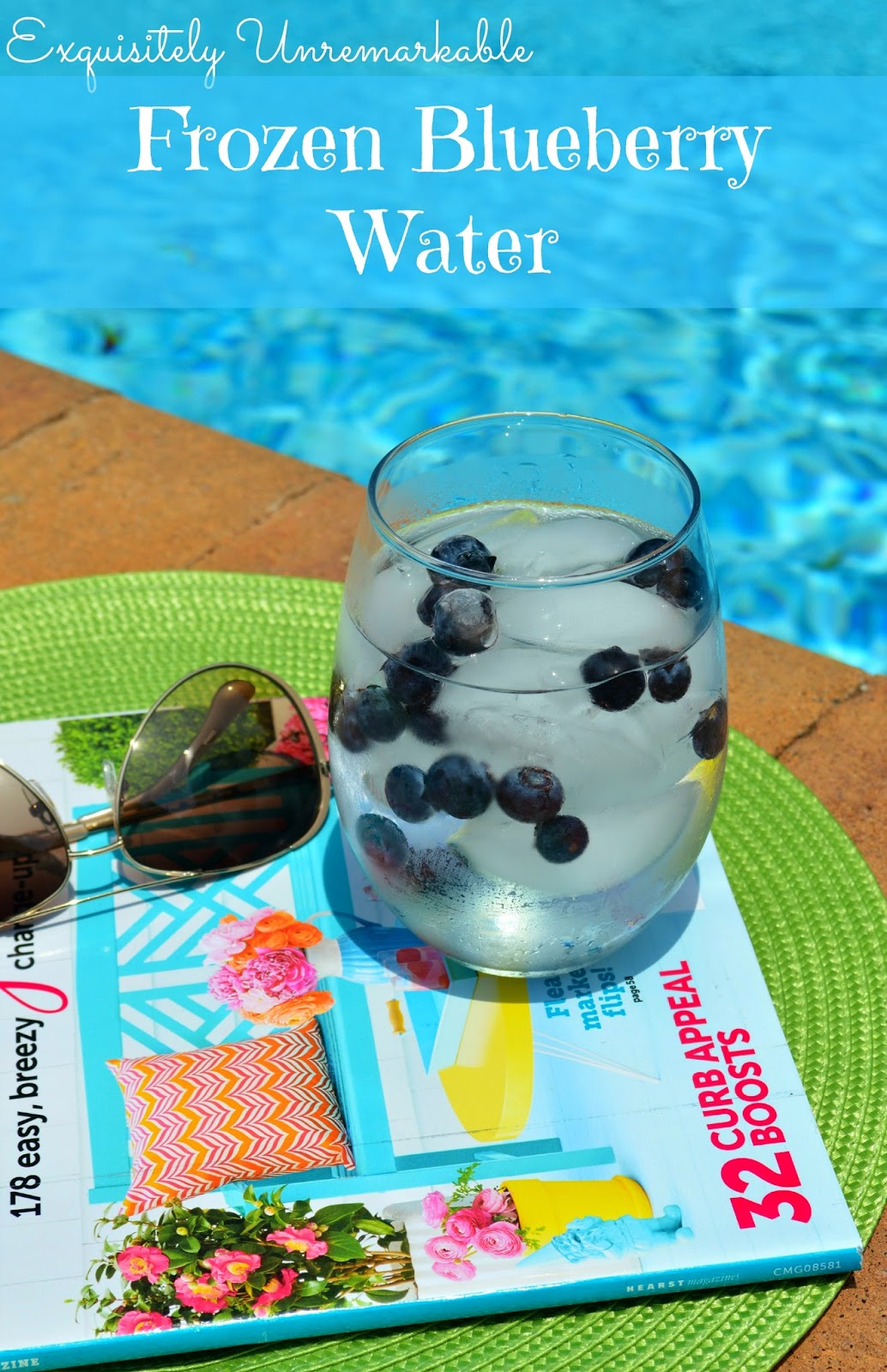 Frozen Blueberry Water on a magazine next to the pool