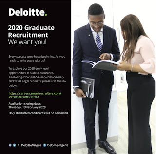 Deloitte Nigeria Graduate Recruitment 2020 [University & Polytechnic Graduates]
