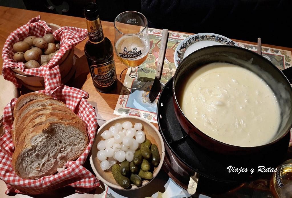 Fondue de queso Gruyere